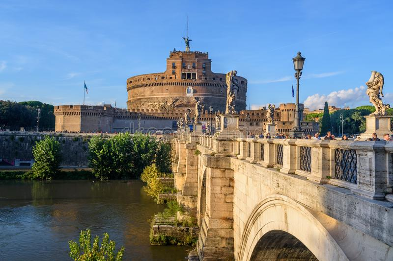 Castel Sant`Angelo or castle of Holy Angel and Ponte Sant`Angelo or Aelian Bridge in Rome. Italy royalty free stock image