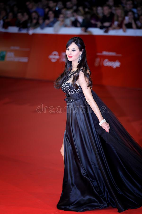 Isabelle Adriani walks a Red Carpet - 12th Rome Film Fest. ROME, ITALY - OCTOBER 28: Isabelle Adriani walk a red carpet for `Stronger` during the 12th Rome Film royalty free stock photography