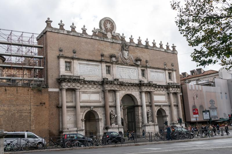 Porta del popolo, Rome, Italy. Rome, Italy - October 31, 2018: Outer façade of Porta del popolo, gate of the Aurelian Walls in Rome royalty free stock photography