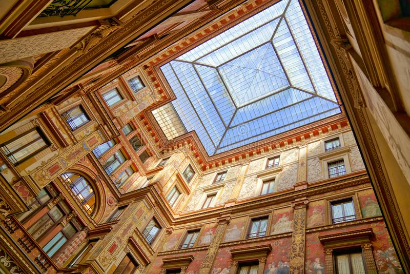 Skylight Window and Colourful Facade at Galleria Sciarra in Rome, Italy.  stock image
