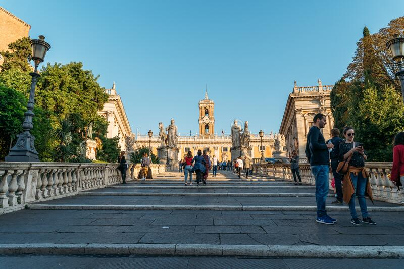 Rome, Italy - October, 2019: Staircase designed by Michelangelo leading to Piazza del Campidoglio in the center of Rome stock photography
