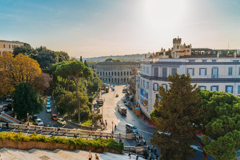 Rome, Italy - October 2019: Street view of historic center Rome, Italy. Famous tourist travel destination royalty free stock image