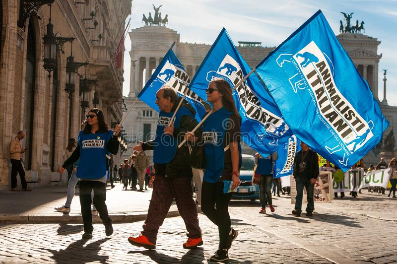 Rome, Italy - 20 october 2018: young animalist activists walking with flags in city center in front of royalty free stock photography