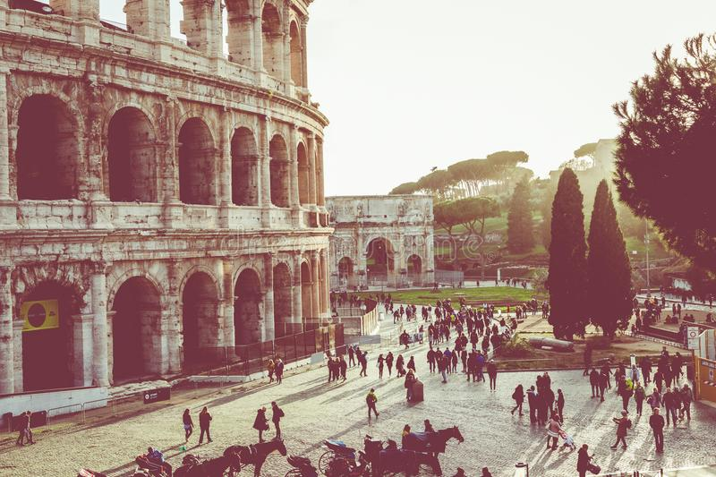 Rome, Italy.One of the most popular travel place in world - Roman Coliseum under evening sun light and sunrise sky. royalty free stock photography