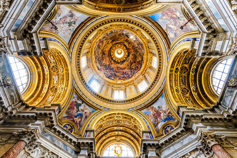 Rome, Italy - Piazza Navona. The beautiful vault of Sant'Agnese in Agone, a basilica church in Piazza Navona, Rome, Italy royalty free stock images