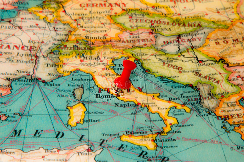 Rome, Italy pinned on vintage map of Europe stock images