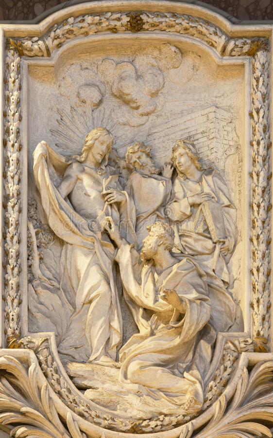 ROME, ITALY, 2016: The relief of The Incredulity of St Thomas by Carlo Monaldi in church Basilica di San Marco. ROME, ITALY - MARCH 10, 2016: The relief of The royalty free stock photography