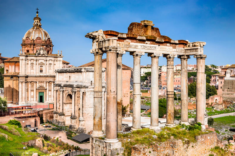 Rome, Italy - Ruins of Imperial Forum royalty free stock photography