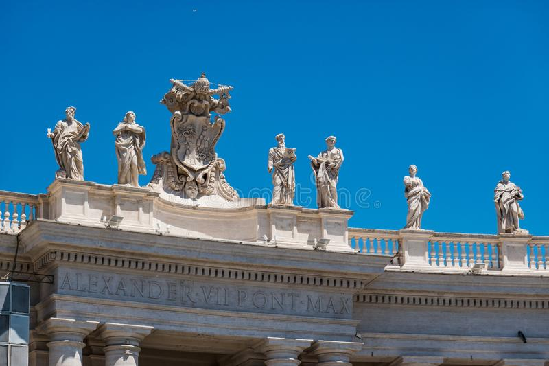 ROME, Italy-  2019: Saint Peter Square Piazza San Pietro Vatican Statues and Decorations of the Basilica stock photos