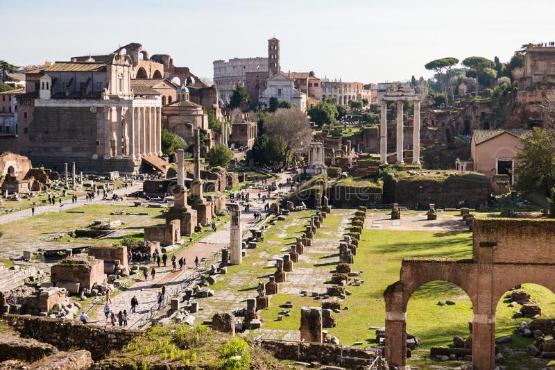 ROME, Italy: Scenic View of Ancient Roman Forum, Foro Romano, UNESCO Site stock image
