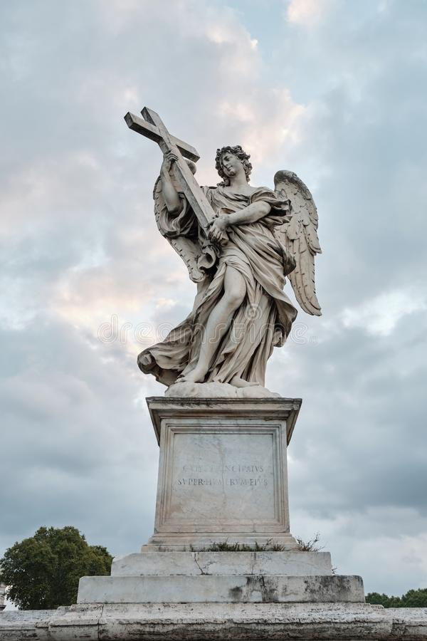 Rome, Italy, Sculpture of an angel Bernini on the Eliev Bridge of the Holy Angel. Rome, Italy - Sculpture of an angel Bernini on the Eliev Bridge of the Holy stock images