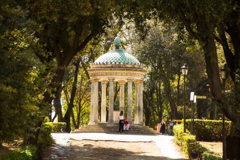 Rome, Italy - September 14, 2017: Arbor in the Villa Borghese gardens. Diana Temple in Villa Borghese, Rome. royalty free stock photos