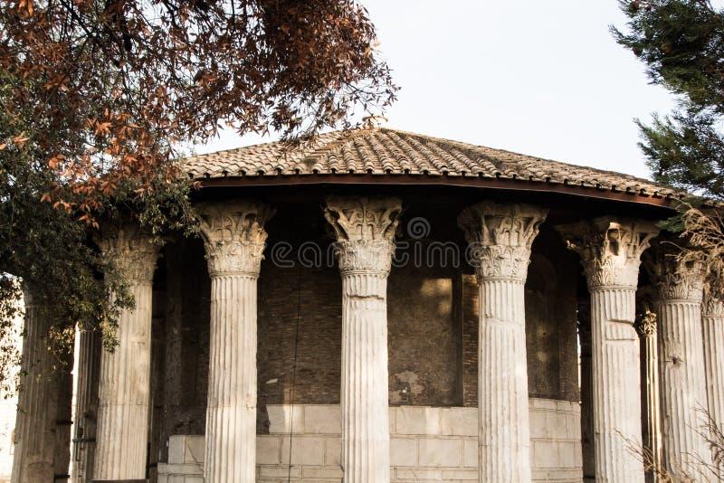 Rome, Italy - September 12, 2017: Circular temple of Hercules Victor or Temple of Vesta Tempio di Vesta. stock image