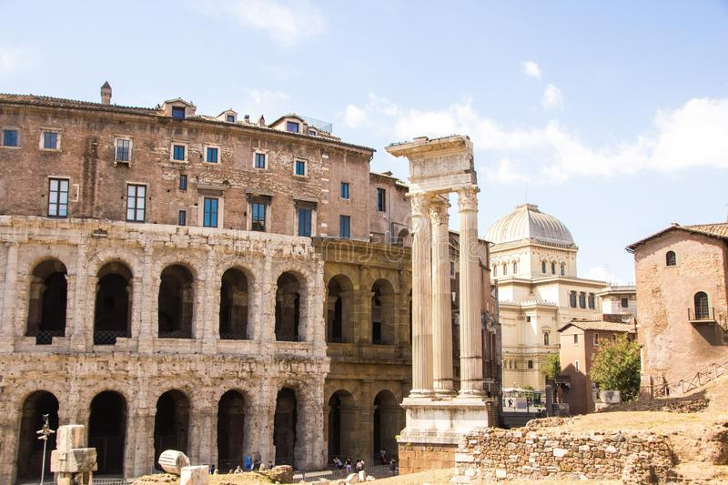 Rome, Italy - September 12, 2017: Exterior view of ancient roman marcellus theater building. Theatre of Marcellus. stock photography
