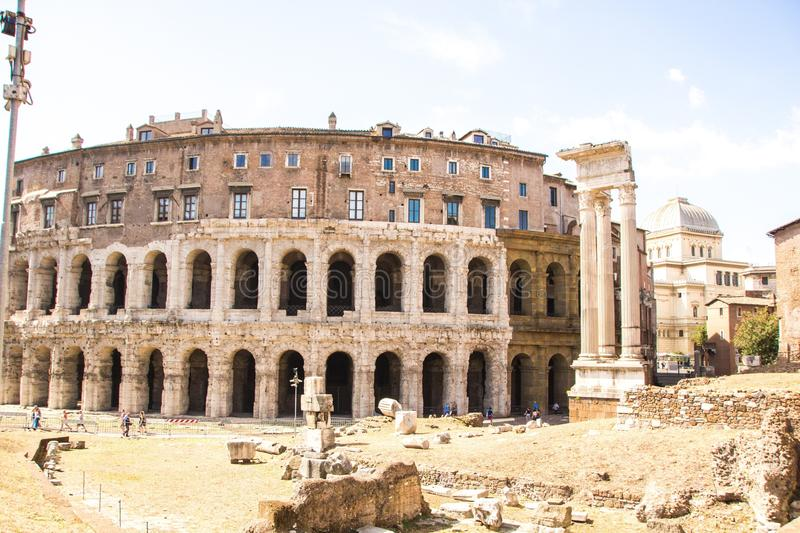 Rome, Italy - September 12, 2017: Exterior view of ancient roman marcellus theater building. stock photography