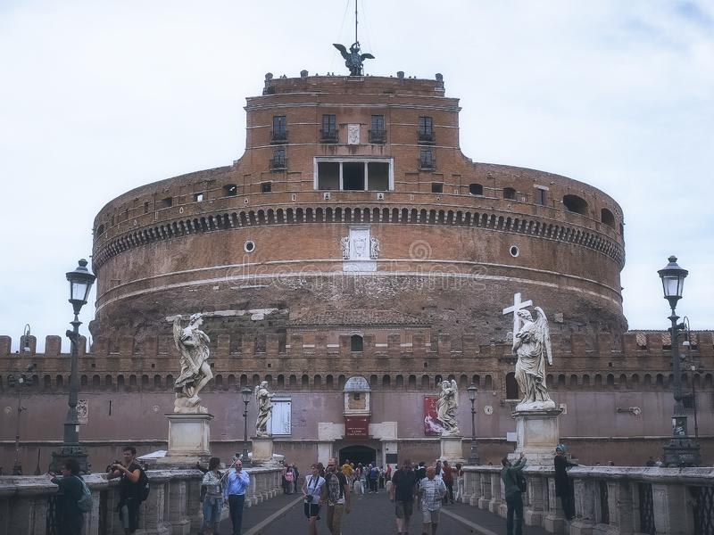 ROME, ITALY- SEPTEMBER 30, 2015: exterior view of castel sant`angelo, rome royalty free stock photos