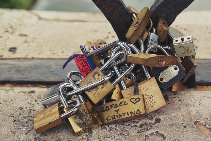 Rome, Italy - September 02, 2017: Lovely lock for couple hang on the bridge royalty free stock photos