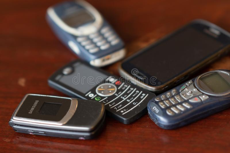 Old Cellular telephones. Rome, Italy - September 2, 2018: Old Cellular telephones. Selective focus royalty free stock images