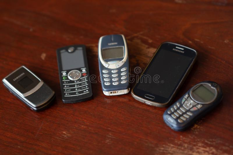 Old Cellular telephones. Rome, Italy - September 2, 2018: Old Cellular telephones. Selective focus stock photography
