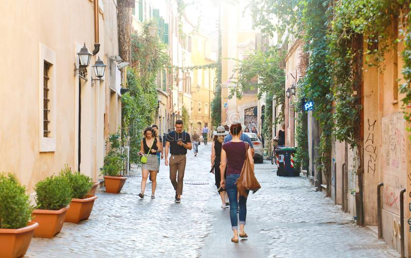 ROME, ITALY - SEPTEMBER 17, 2019: people walking in Trastevere neighborhood in Rome, Italy.  stock photography