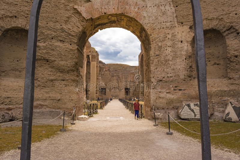 Ruins of the Baths of Caracalla - Terme di Caracalla stock photo