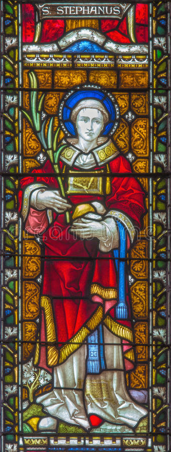 ROME, ITALY. 2016: The St. Augustine on the stained glass of All Saints' Anglican Church by workroom Clayton and Hall. ROME, ITALY - MARCH 9. 2016: The St stock photos