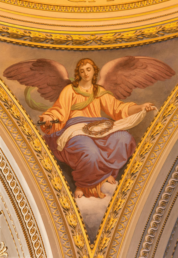 ROME, ITALY, 2016: The symbolic fresco of angel with the cross in side cupola in church Basilica di Santi Giovanni e Paolo stock photography