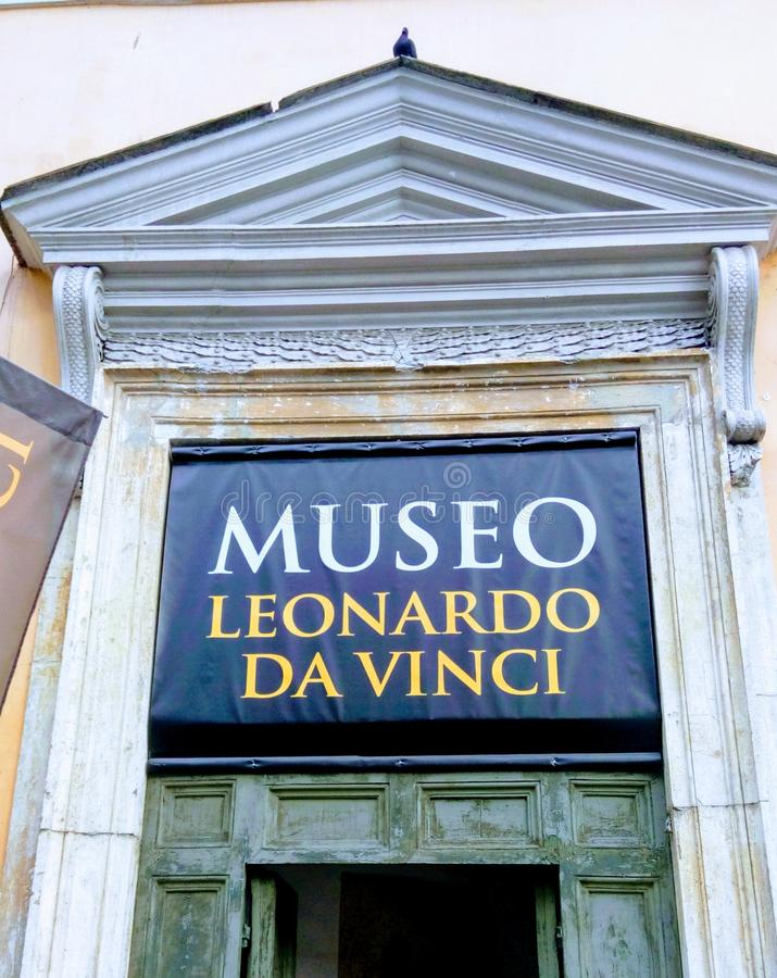 Rome, Italy, 5th of Oct. 2015: LEONARDO DA VINCI MUSEUM - PIAZZA DEL POPOLO royalty free stock photography