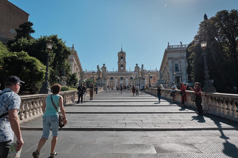 Rome, Italy, Tourists climb the stairs to Capitol Hill royalty free stock photos