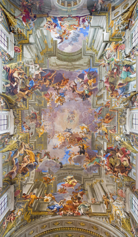 Free ROME, ITALY: Vault Baroque Fresco The Apotheosis Of St Ignatius By Jesuit Frater Andrea Pozzo In Church Chiesa Di Sant  Ignaz Royalty Free Stock Photo - 68691245