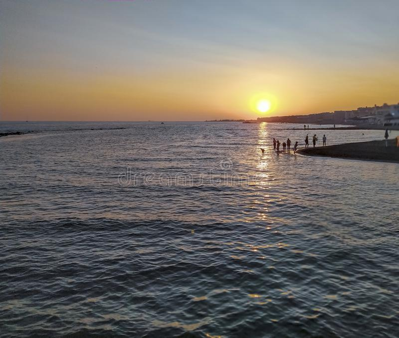 Rome, Italy 07/05/2019 View of a sunset landscape on the beach royalty free stock images