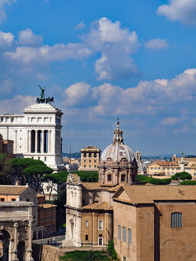 Rome, Italy. Views of monuments and domes in the historic center of Rome, Italy royalty free stock photo