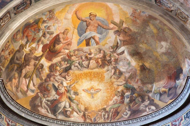 Rome - Jesus Christ in de hemelfresko door Scipione Pulzone van 16 cent in hoofdapsis van kerk Santo Spirito in Sassia royalty-vrije stock foto