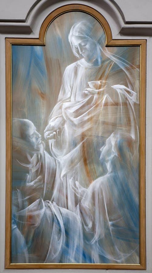 Rome - Jesus en eucharist - moderne verf. royalty-vrije stock afbeeldingen