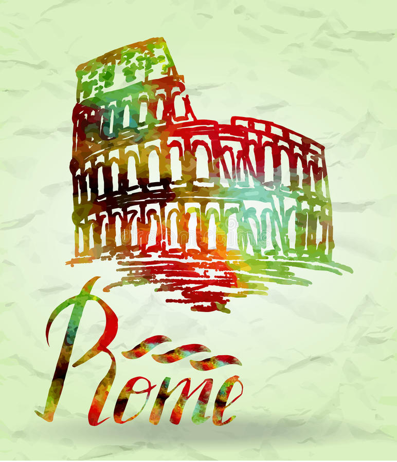 Rome label with hand drawn Coliseum, lettering Rome with watercolor fill. Vector illustration, Rome label with hand drawn Coliseum, lettering Rome with royalty free illustration