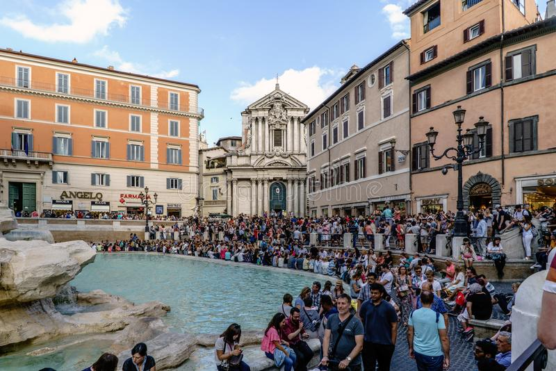 Rome, Lazio, Italy. July 25, 2017: View of the square called stock photography