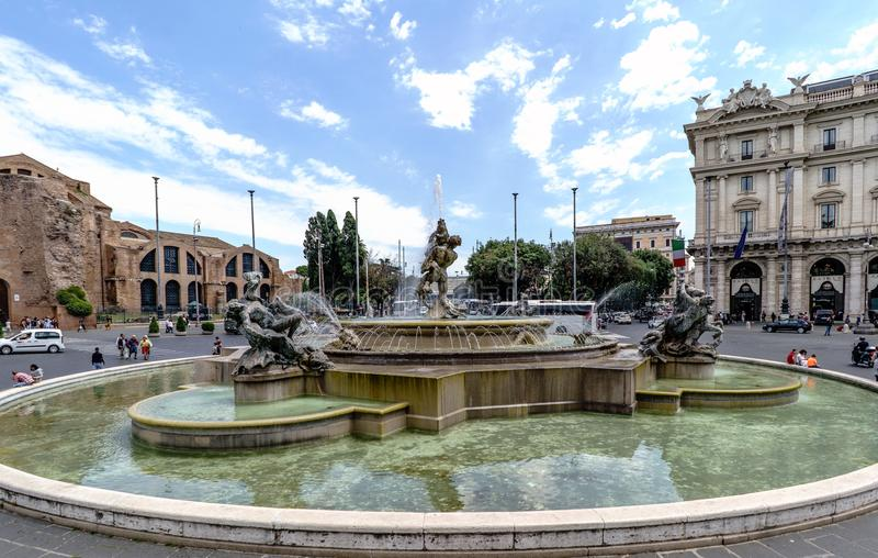 Rome, Lazio, Italy. May 22, 2017: View of fountain called. `Fontana esedra` with precious sculptures of Nymphs in Piazza della Republica in Italian `piazza stock photos