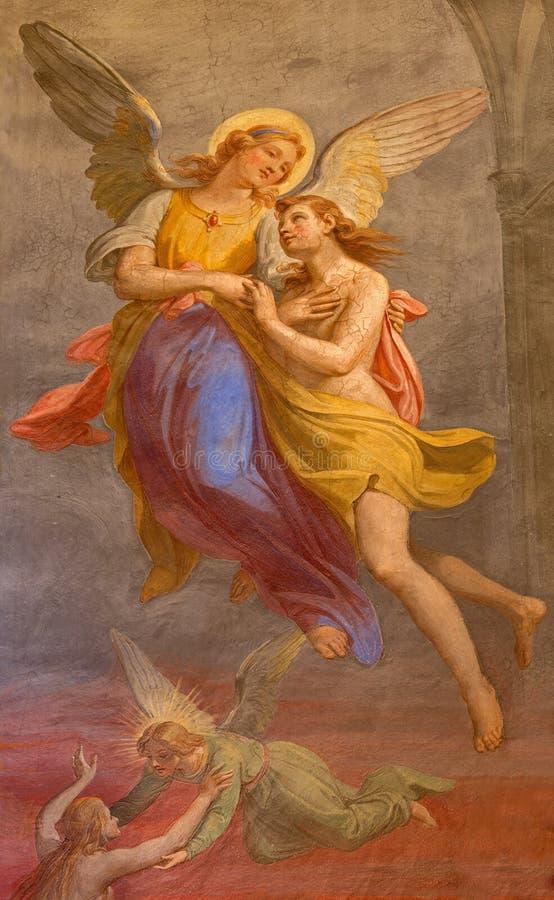 Rome - le fresque de l'ange et le fresque d'âme en Basilica di Sant Agostino (Augustine) par Giovanni Battista da Novara photos stock