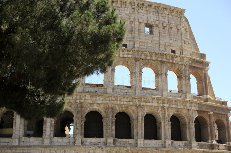 Rome, The Majestic Coliseum. Italy. Colosseum Rome. Ruins of the ancient Roman amphitheatre. Travel to Italy stock image