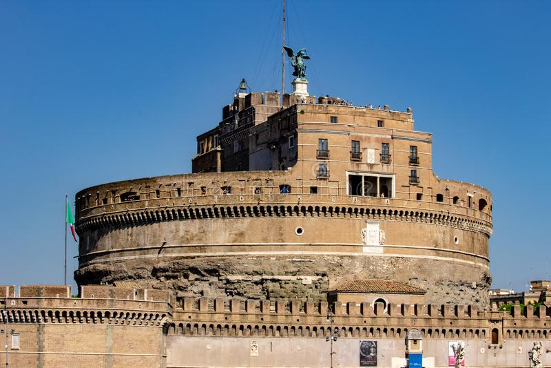Rome, majestueus Castel Sant 'Angelo royalty-vrije stock foto