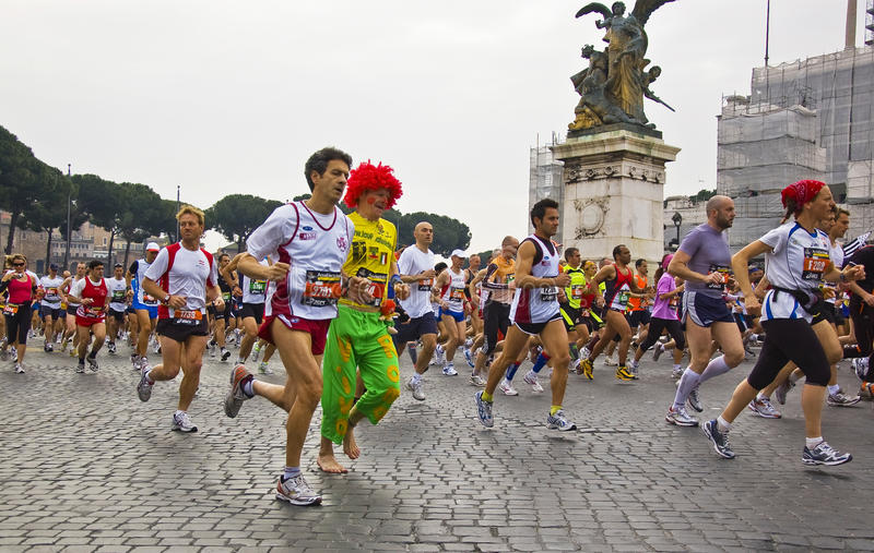 Rome marathon. Funny runners at rome marathon 2010 stock photography