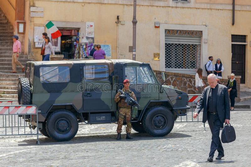 Rome. Military with a submachine gun in Rome. royalty free stock photos