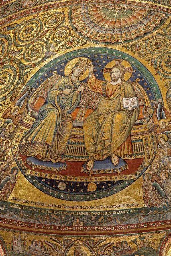 Rome - Mosaic Of Coronation Of Holy Mary Royalty Free Stock Image