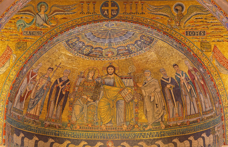 Rome - mosaic Coronation of the Virgin from main Apse of Santa Maria in Trastevere church from 13th-century by Pietro Cavallini. ROME, ITALY - MARCH 27, 2015 stock photos