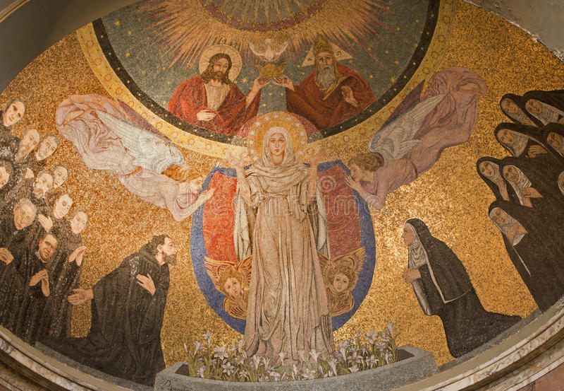 Rome - Mosaic of Virgin Mary - Santa Prassede royalty free stock photography