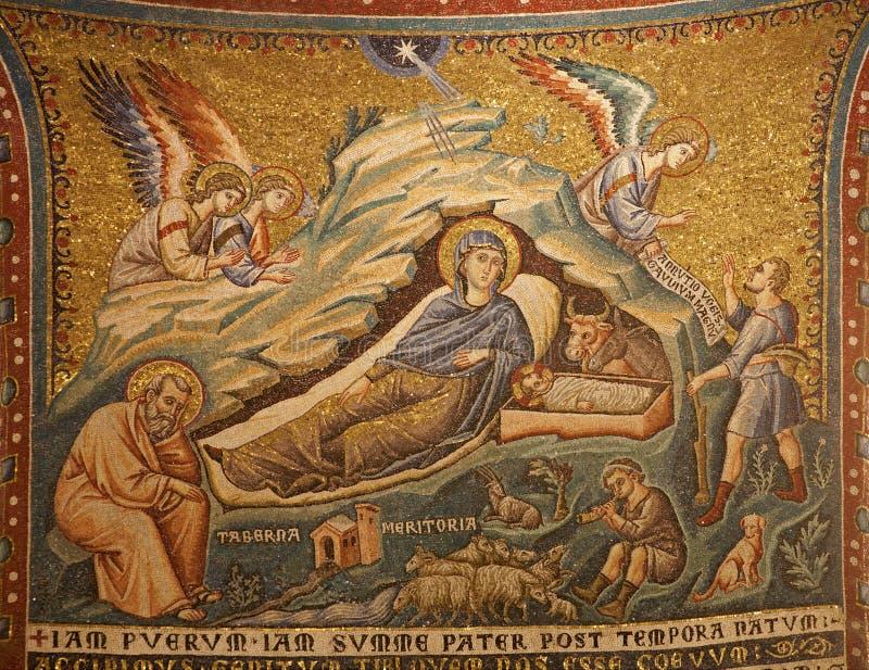 Rome - mozaïek van de Geboorte van Christus stock afbeelding