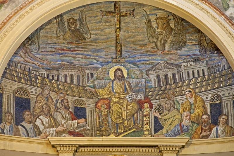 Rome - mozaïek van Jesus de Leraar stock afbeelding