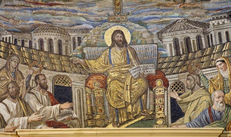 Rome - mozaïek van Jesus de Leraar stock fotografie