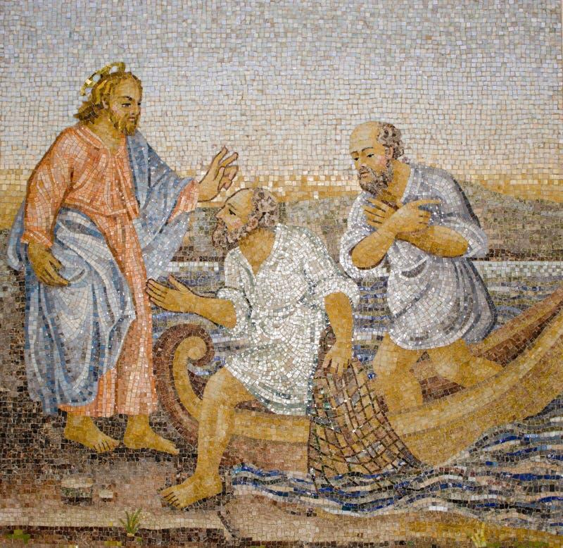 Rome - mozaïek van mirakel visserij stock foto