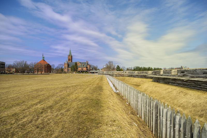 ROME, NEW YORK, - MAR 29, 2019: A cityscape shot of Saint Peter Church from Fort Stanwix roof, it is a Roman Catholic church royalty free stock photography